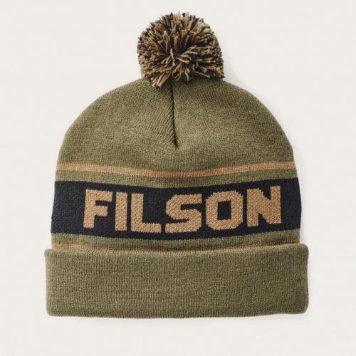 Mens Filson Acrylic Logo Beanie in Army Green