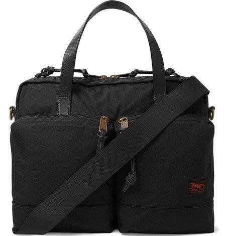 Mens Filson Dryden Leather-trimmed Nylon Briefcase Bag in Black
