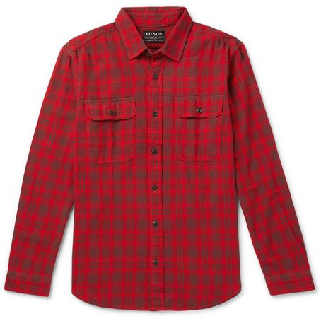 Mens Filson Scout Checked Cotton-flannel Shirt in Red