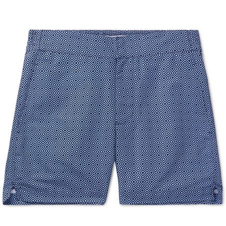 Mens Frescobol Carioca Classic Slim-fit Mid-length Printed Swim Shorts in Blue