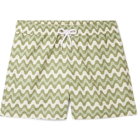 Mens Frescobol Carioca Copacabana Slim-fit Short-length Printed Swim Shorts in Green