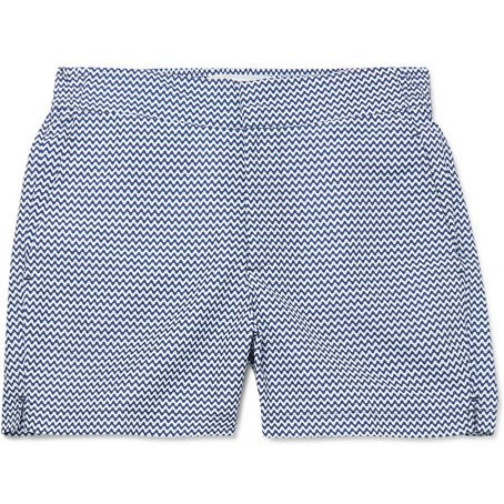 Mens Frescobol Carioca Mid-length Printed Swim Shorts in Blue