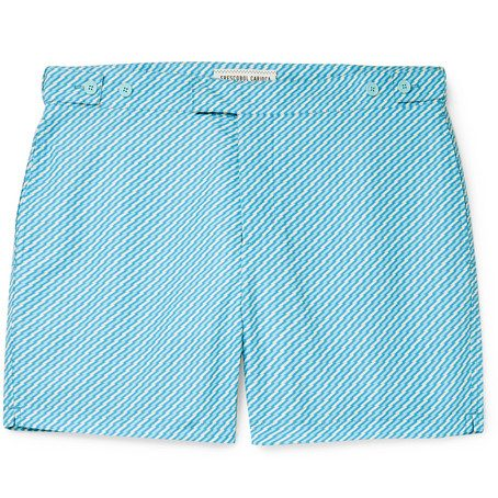 Mens Frescobol Carioca Pepe Slim-fit Mid-length Printed Swim Shorts in Blue