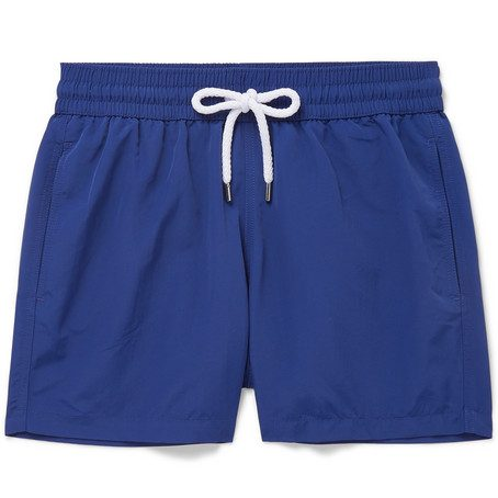 Mens Frescobol Carioca Slim-fit Short-length Swim Shorts in Blue