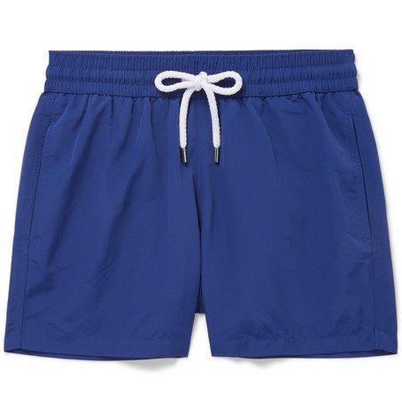 Mens Frescobol Carioca Slim-fit Short-length Swim Shorts in Blue