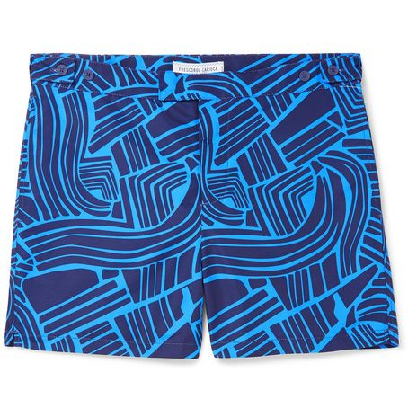 Mens Frescobol Carioca Tidal Mid-length Printed Swim Shorts in Navy