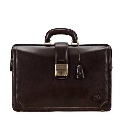 Mens Maxwell Scott Bags Handcrafted Leather Lawyers Briefcase in Basilio Brown