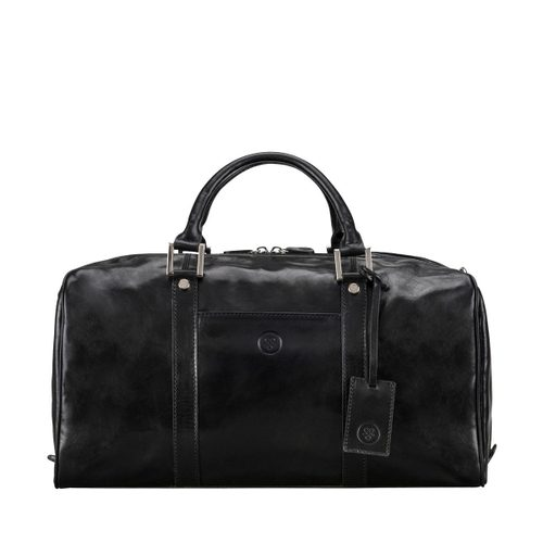 Mens Maxwell Scott Bags Italian Leather Small Travel Bag in Fleros Black