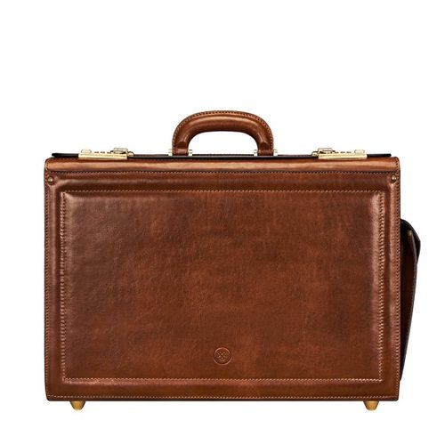Mens Maxwell Scott Bags Luxury Real Leather Pilot Case in Varese Tan