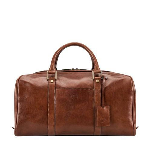 Mens Maxwell Scott Bags Real Leather Small Travel Holdall Bag in Fleros Tan