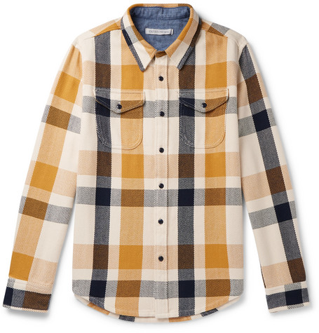 Outerknown Checked Organic Shirt Mens Saffron