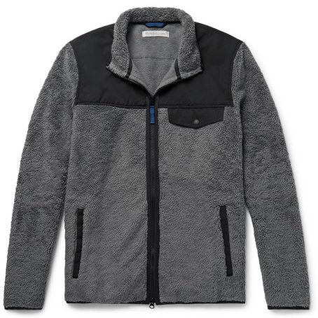 Outerknown - Shell-trimmed Cotton-blend Fleece Jacket - Dark grey mens