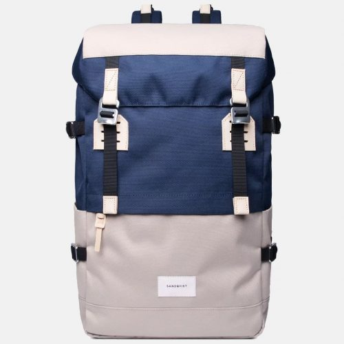 Mens Sandqvist Harald Backpack in Beige / Blue