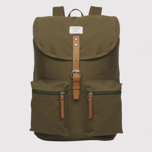 Mens Sandqvist Roald Ground Backpack in Olive Green