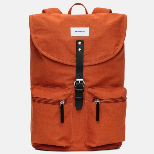 Mens Sandqvist Roald Ground Backpack in Rust Red