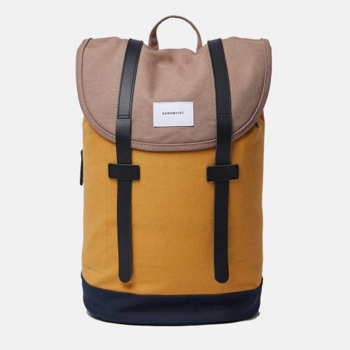 Mens Sandqvist Stig Backpack in Brown / Yellow / Navy