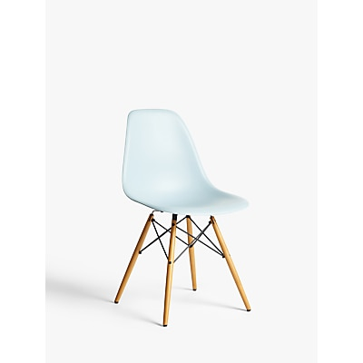 The Mens Vitra Eames DSW Side Chair in Ice Grey with Light Maple Leg