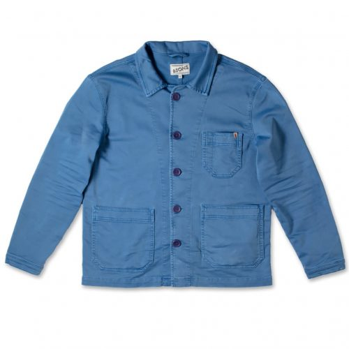 Mens &SONS Blue Bolt Chore Jacket in Bright Blue