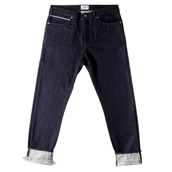 Mens &SONS Cutter 12Oz Selvedge Denim Jeans in Indigo Ecru