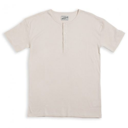 Mens &SONS Elder Grandad Short Sleeve T Shirt in Off-White