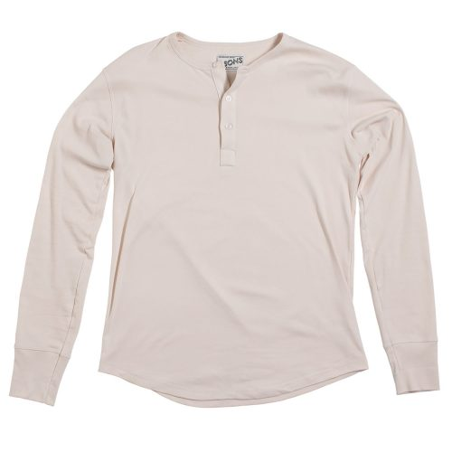 Mens &SONS Elder Henley T Shirt in Off-White