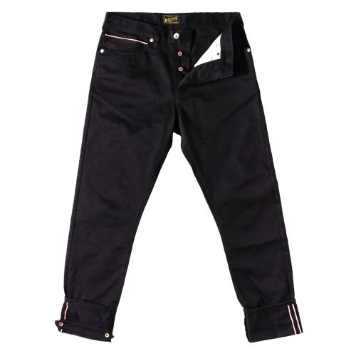Mens &SONS Rocker 12Oz Selvedge Denim Jeans in Double Black