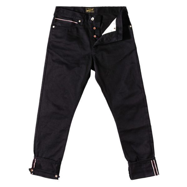 Mens &SONS Rocker 12Oz Selvedge Denim Jeans in Double Black