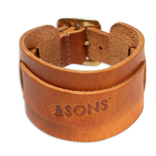 Mens &SONS Leather Watch & Wrist Cuff in Tan
