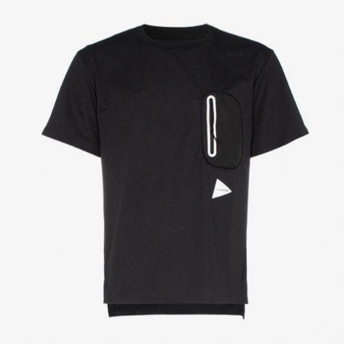 and Wander black Hybrid zip pocket T-shirt