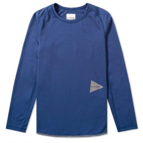 And Wander Long Sleeve Dry Raglan T-shirt Mens Blue