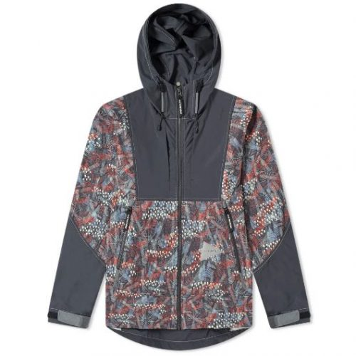 And Wander Printed Stretch Jacket Charcoal Multi Mens