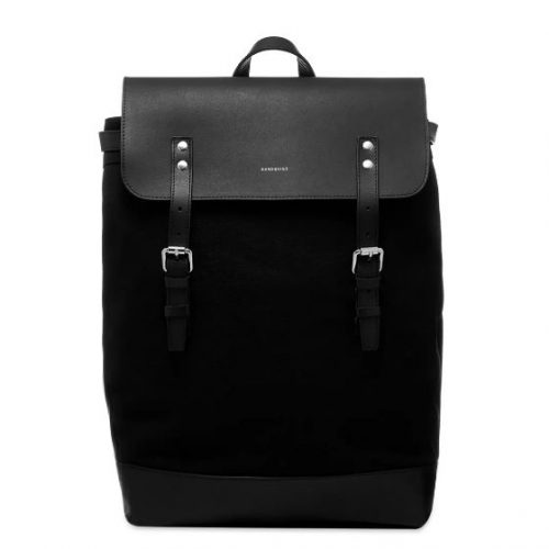 Mens Sandqvist Hege Canvas & Leather Backpack in Black