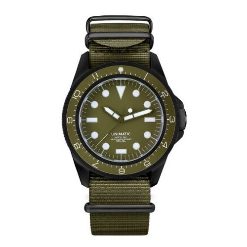 Mens Unimatic Modello Uno Unimatic U1-DZN Watch in Black and Olive