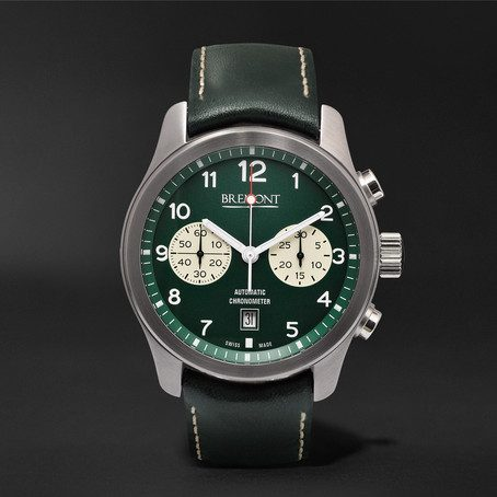 Mens Bremont Alt1-classic/gn Automatic Chronograph 43mm Stainless Steel And Leather Watch in Green