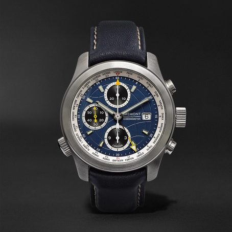 Mens Bremont Alt1-wt/bl World Timer Automatic Chronograph 43mm Stainless Steel And Leather Watch in Blue