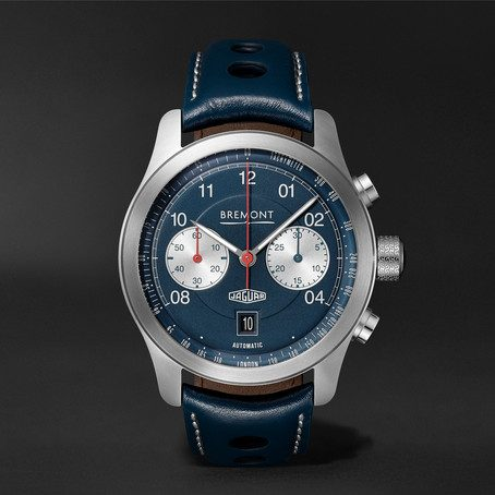 Mens Bremont Limited Edition Jaguar D-type Chronograph 43mm Stainless Steel And Leather Watch in Blue