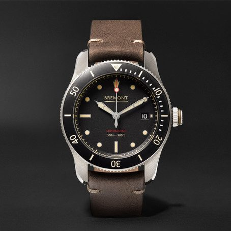 Mens Bremont Supermarine Type 301 Automatic Chronometer 40mm Stainless Steel And Leather Watch, Ref. No. S301/bk in Black