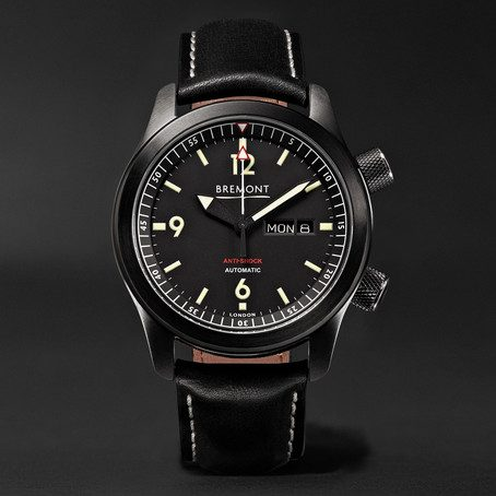 Mens Bremont U-2/dlc Automatic 43mm Stainless Steel And Leather Watch in Black