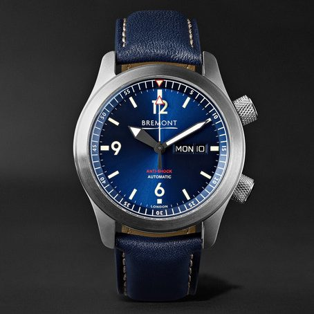 Mens Bremont U2/bl Automatic 45mm Stainless Steel And Leather Watch in Blue