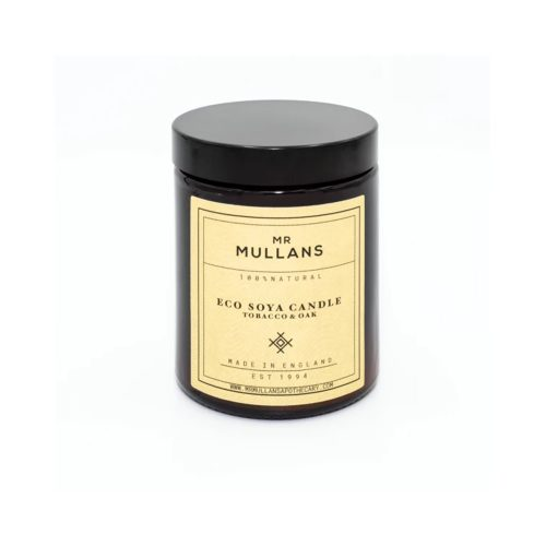 Mens Mr Mullans Apothecary Eco Soya Hand Poured Scented Candles in Tobacco & Oak