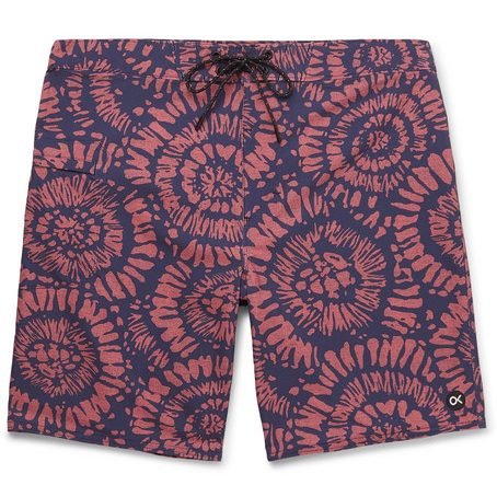 Mens Outerknown Nomadic Long-length Printed Swim Shorts in Pink / Navy
