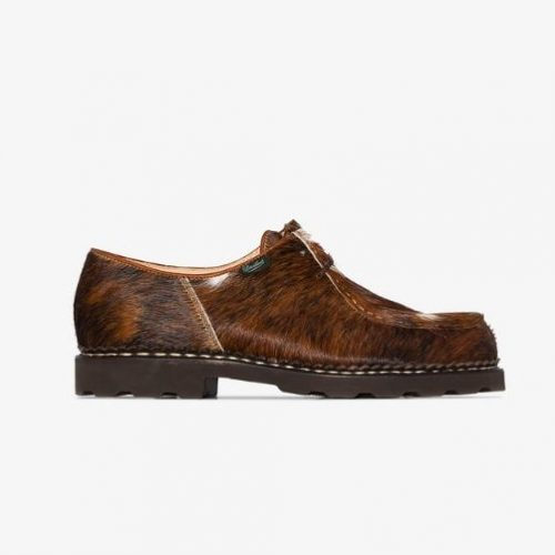 Mens Paraboot Michael Cow Hair Lace-Up Shoes in Brown