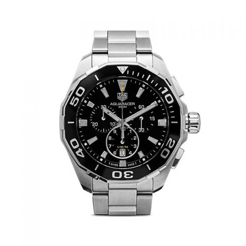 Mens Tag Heuer Aquaracer Chrono 43mm Steel Watch in Black