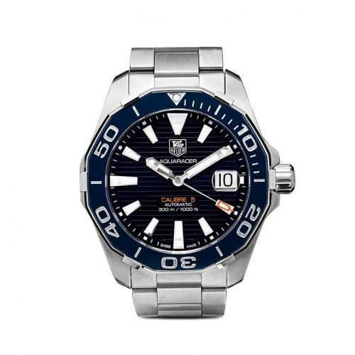Mens Tag Heuer Aquaracer Calibre 5 41mm Steel Watch in Blue