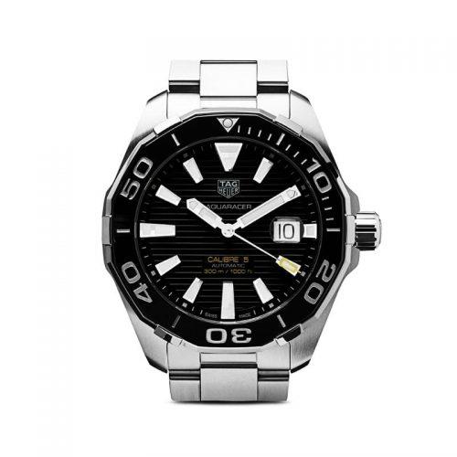 Mens Tag Heuer Aquaracer Calibre 5 43mm Steel Watch in Black