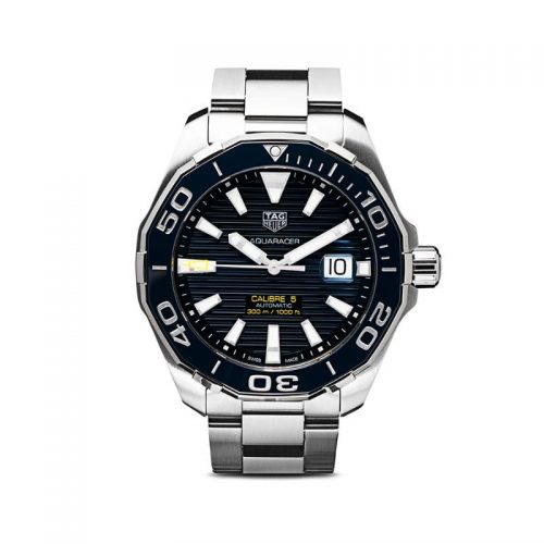 Mens Tag Heuer Aquaracer Calibre 5 43mm Steel Watch in Blue