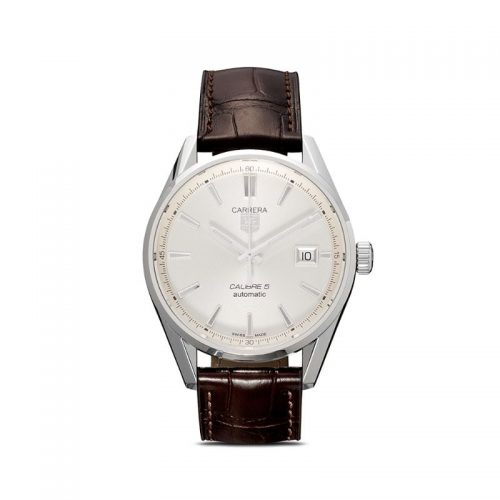 Mens Tag Heuer Carrera 39mm Steel & Alligator Leather Watch in Silver / Brown