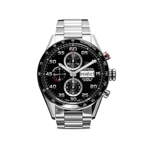 Mens Tag Heuer Carrera Calibre 16 Day-Date 43mm Steel Watch in Black