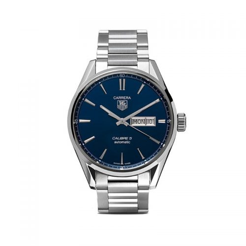 Mens Tag Heuer Carrera Calibre 5 Day-Date 41mm Steel Watch in Blue