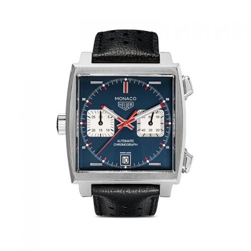 Mens Tag Heuer Monaco Calibre 11 39mm Leather / Steel Watch in Blue